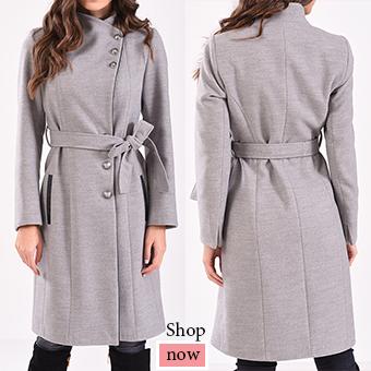 Γυναικείο μακρύ παλτό με δέσιμο στην μέση