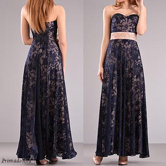 Maxi strapless φόρεμα από δαντέλα