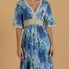Εμπριμέ mini φόρεμα καφτάνι