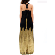 Maxi φόρεμα πλισέ με ανοιχτή πλάτη
