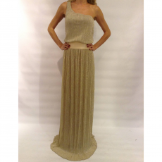 Maxi μεταλιζέ φόρεμα με έναν ώμο