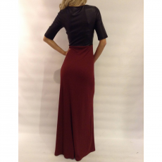 Maxi φόρεμα με μπούστο δερματίνη