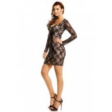 Mini φόρεμα δαντέλα με μανίκια