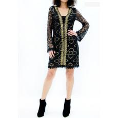 Mini φόρεμα δαντέλα διαφάνεια και χρυσό