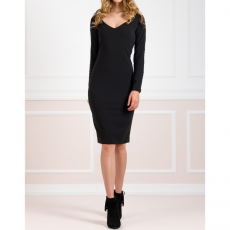 Midi ελαστικό φόρεμα με V λαιμόκοψη