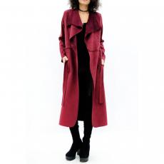 Παλτό μακρύ με τσέπες και ζώνη