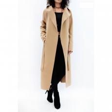 Μακρύ παλτό με κουκούλα και ζώνη
