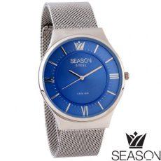 Unisex ατσάλινο ρολόι 6-4-5-7 ασημί-μπλέ