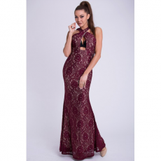 Maxi φόρεμα με χιαστί δέσιμο στο λαιμό