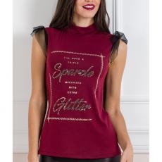 Αμάνικη μπλούζα με διαφάνεια και τούλι
