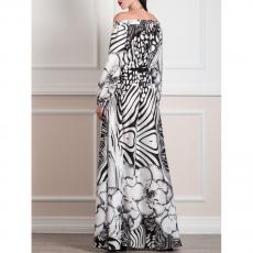 Ασπρόμαυρο maxi φόρεμα τύπου σατεν