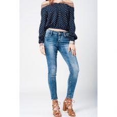 Γυναικείο skinny jeans με ξεβάματα