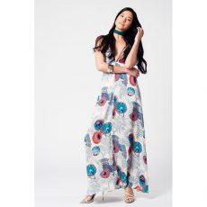 Maxi floral φόρεμα με V λαιμόκοψη