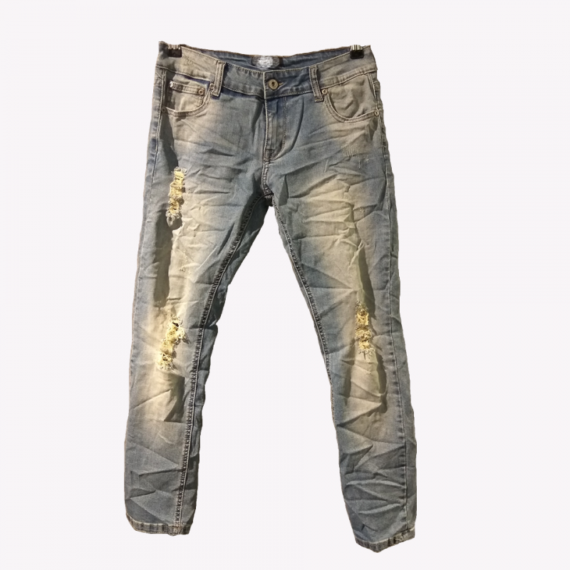 Jean παντελόνι ξεβαμένο εφαρμοστό crop