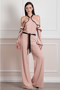 Jumpsuit with bare shoulders and belt