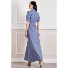 Ριγέ μακρύ φόρεμα-πουκαμίσα με κουμπιά
