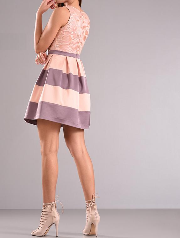 Mini φόρεμα cocktail αμάνικο