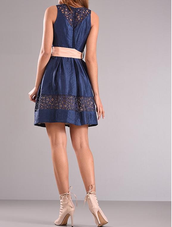 Mini φόρεμα αμάνικο με διαφάνεια