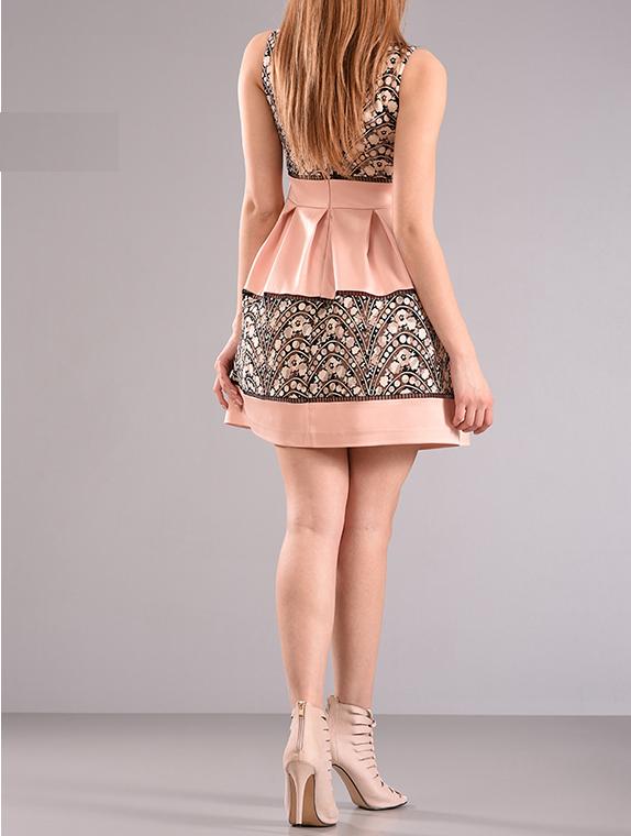 Mini φόρεμα εμπριμέ με πιέτες