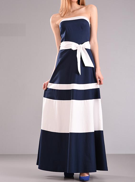 Maxi φόρεμα στράπλες σε άλφα γραμμή
