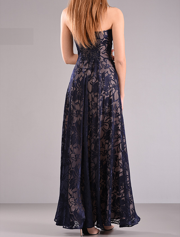 Maxi φόρεμα strapless με λάστιχο
