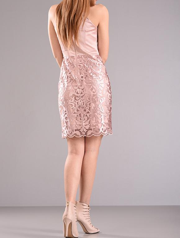 Φόρεμα από σατέν ύφασμα με δαντέλα