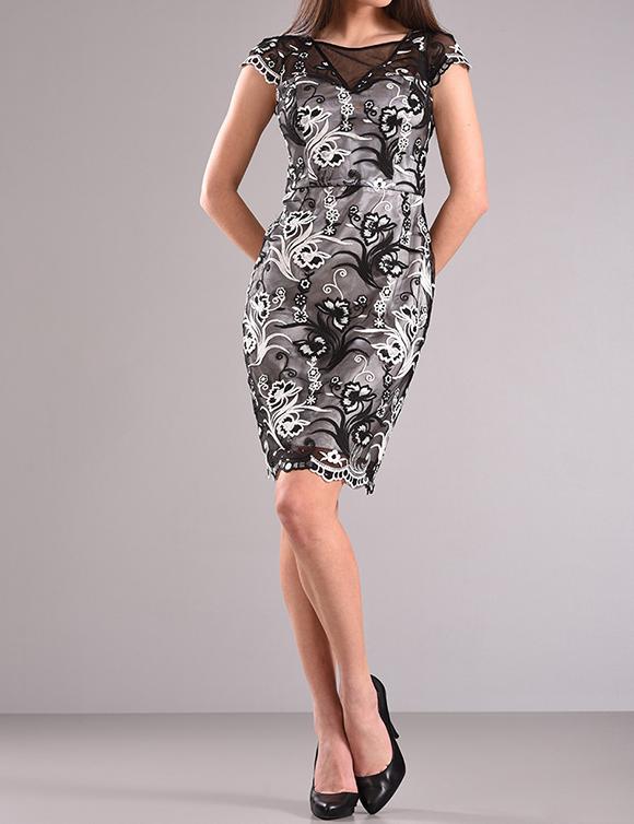 Φόρεμα δαντέλα με λαιμόκοψη χαμόγελο