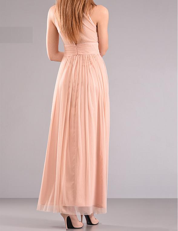 Maxi φόρεμα από δαντέλα με διαφάνεια