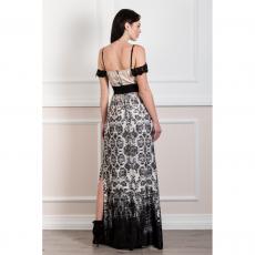 Maxi φόρεμα με λεπτές τιράντες και δαντέλα