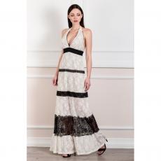 Maxi ασπρόμαυρο φόρεμα με ανοικτή πλάτη