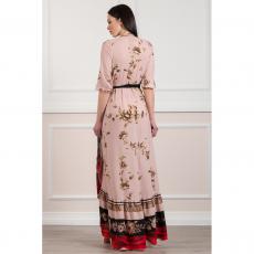 Maxi κρουαζέ φόρεμα με σκίσιμο μπροστά