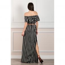 Maxi ριγέ φόρεμα με γυμνούς ώμους