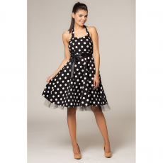 Mini φόρεμα μαύρο πουά με τούλι