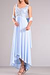 Ασύμμετρο φόρεμα με εσάρπα