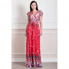 Maxi εμπριμέ ελαστικό φόρεμα με V πλάτη
