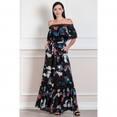 Maxi φόρεμα με βολάν και γυμνούς ώμους