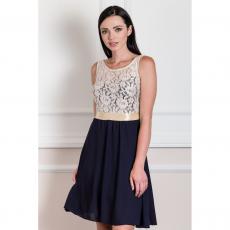 Midi φόρεμα με μουσελίνα και μπούστο δαντέλα