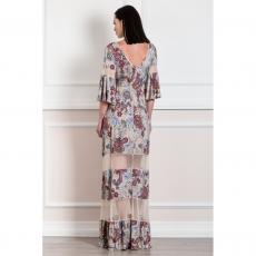 Maxi εμπριμέ φόρεμα με λεπτομέρειες από τούλι