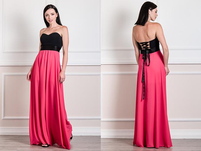 Φόρεμα maxi strapless από μουσελίνα