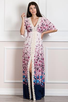 Εμπριμέ maxi φόρεμα καφτάνι με διακοσμητική δαντέλα
