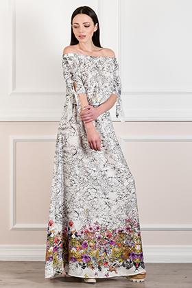 Maxi εμπριμέ φόρεμα καφτάνι με γυμνούς ώμους