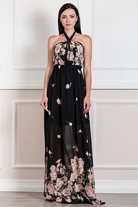 Maxi floral φόρεμα με διπλό σκίσιμο