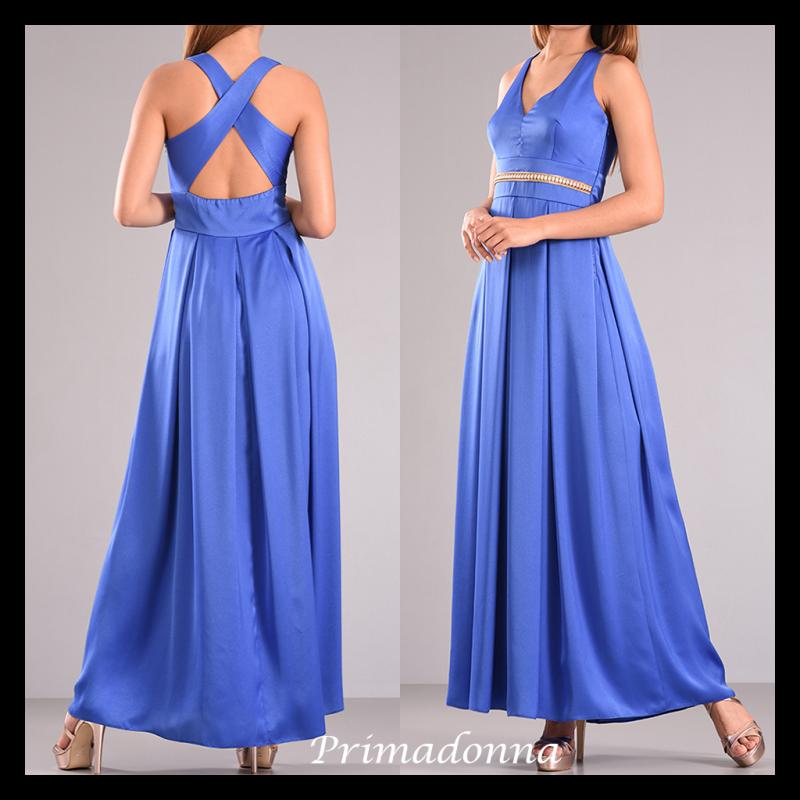 Maxi φόρεμα με πιέτες και χιαστή πλάτη