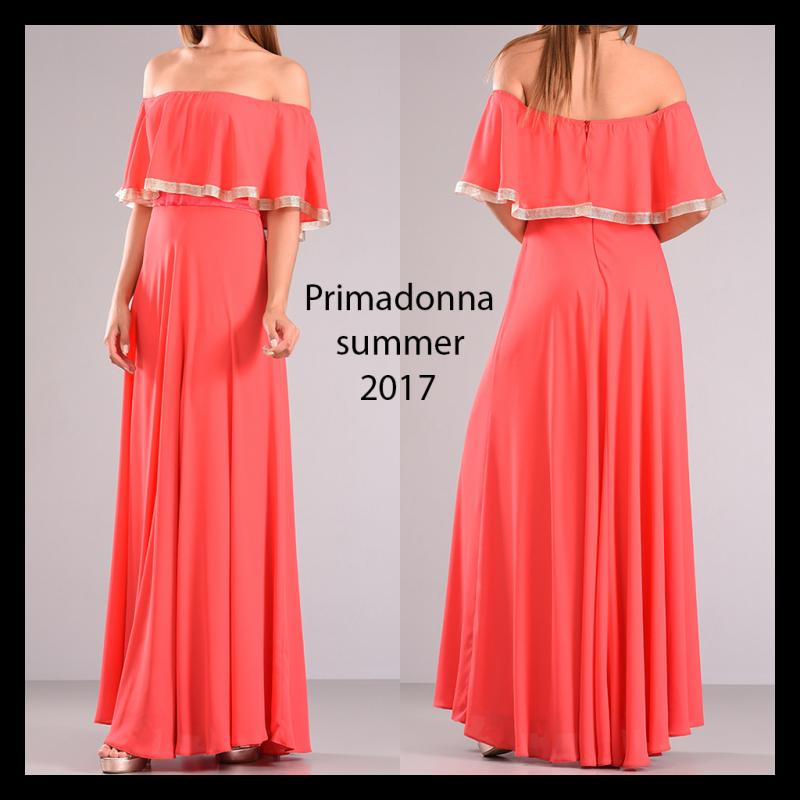 Maxi φόρεμα με βολάν και χρυσές λεπτομέρειες