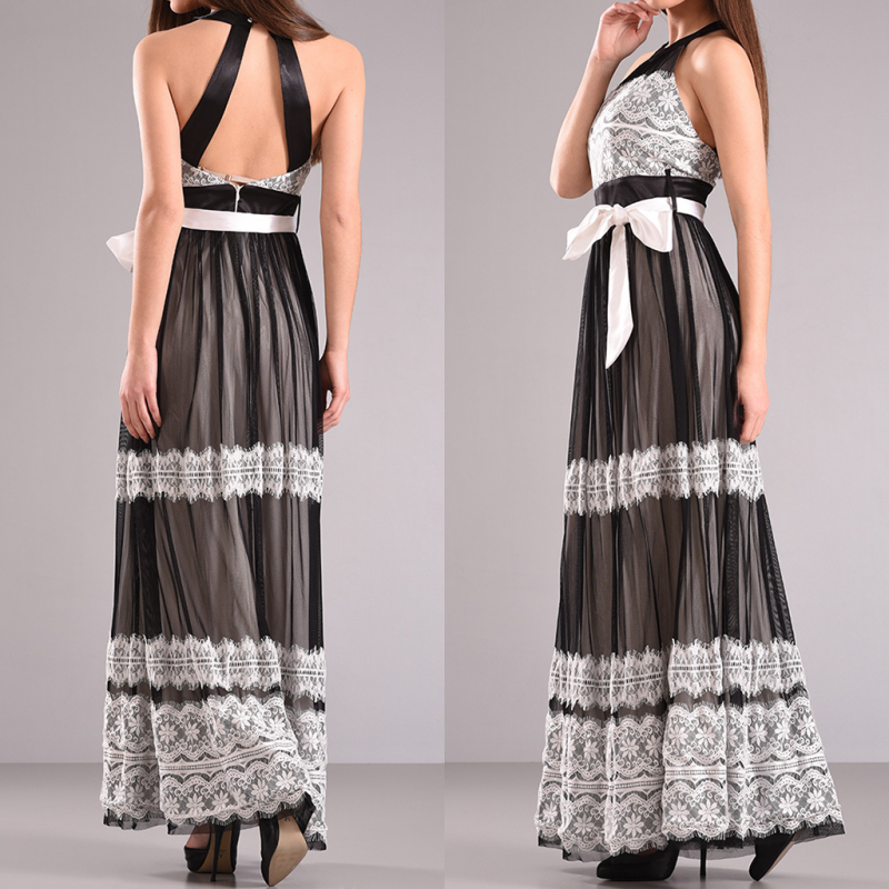 Maxi φόρεμα με δαντέλα και χιαστή πλάτη