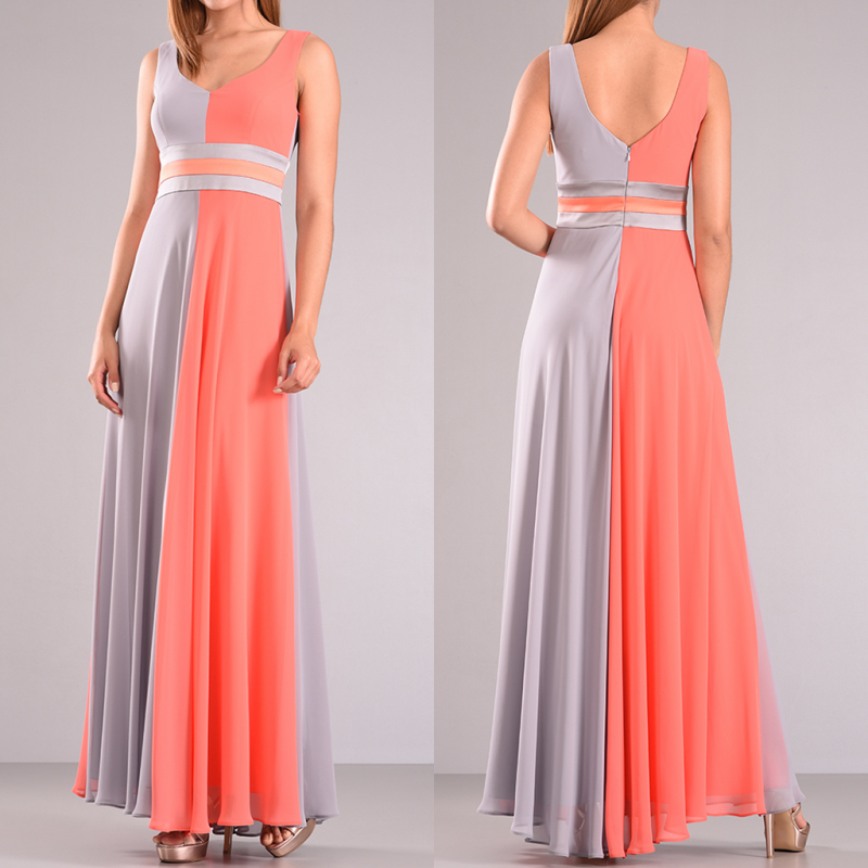 Maxi αέρινο φόρεμα σε γκρι-κοραλλί χρώμα