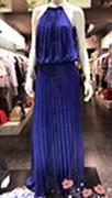 Maxi πλισέ φόρεμα σε μπλε ρουά χρώμα