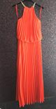 Maxi φόρεμα πλισέ σε κοραλλί χρώμα