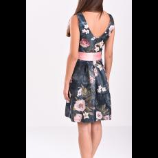 Εμπριμέ κοντό φόρεμα με ροζ ζώνη