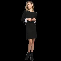 Κοντό φόρεμα ριχτό με πλισέ στα μανίκια